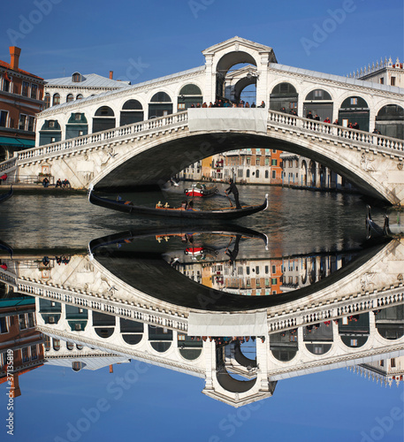 Venice, Ponte Rialto bridge with gondola