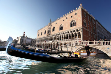Venice with gondola in Italy