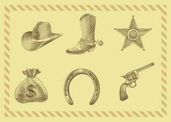 cowboy icon set in engraving style