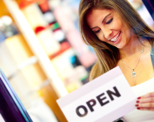 Woman opening a business