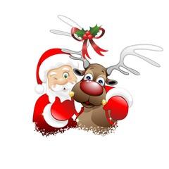 Babbo Natale e Renna Cartoon-Santa Claus and Reindeer-Vector