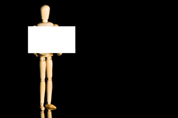 Mannequin holding business card