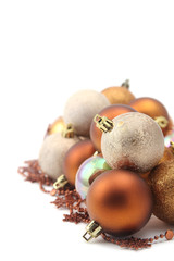 Gold and brown Christmas ornaments