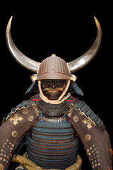 Image of samurai armour on black with clipping path