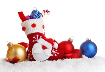christmas sock with decoration isolated on white background