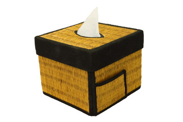Bamboo craft tissue paper box on white background.