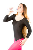 Woman in rhythmic gymnastics drinking water poster