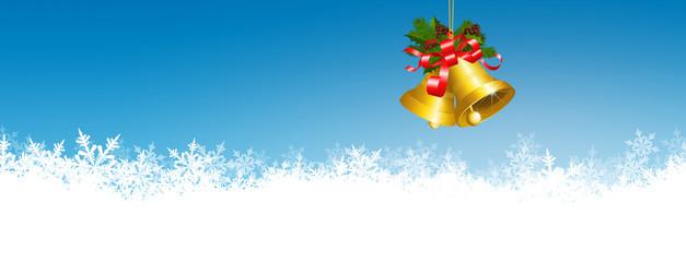 Weihnachtshintergrund, Weihnachtsglöckchen, Eisristalle, blau