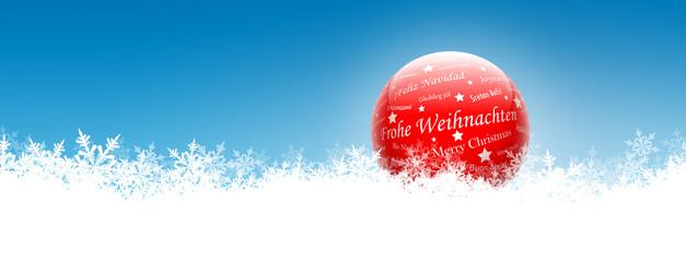Weihnachtsgrüße, Frohe Weihnachten, Glaskugel, Schnee