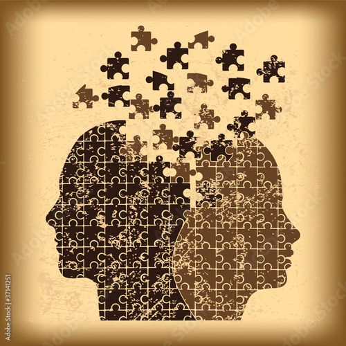 Puzzle heads grunge background vector