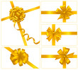 Big set of gold gift bows with ribbons. Vector.