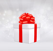 Close up of gift box with red bow. Vector