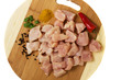 choped raw chicken meat slices with spices