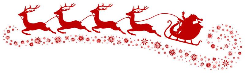 Christmas Sleigh, 4 Flying Reindeers & Snowflakes Red