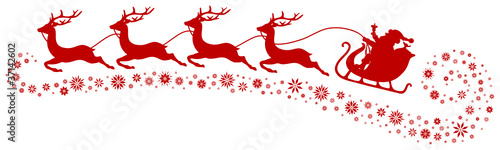 Christmas Sleigh, 4 Flying Reindeers & Snowflakes Red