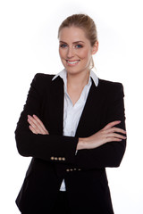 Confident Smiling Businesswoman Arms Crossed