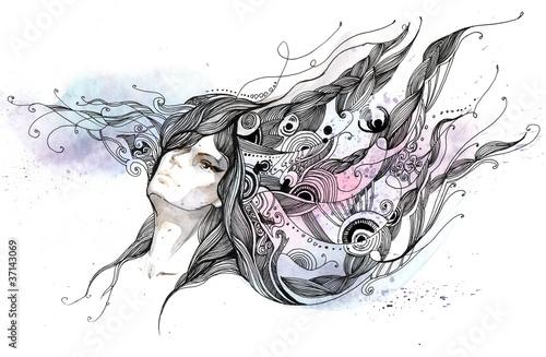 woman with beautiful hair (series c)