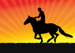 horseman on the sunset background