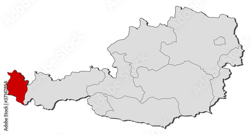 Map of Austria, Vorarlberg highlighted