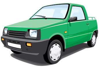 Vector isolated green pickup without gradients