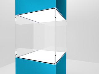 Empty glass podium for exhibit