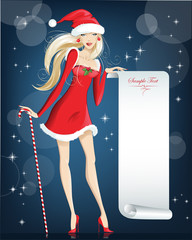 girl Santa Claus Happy Christmas and New Year