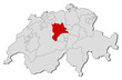Map of Swizerland, Lucerne highlighted