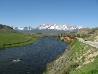 Sawtooth Mountains and Salmon River in Stanley Idaho