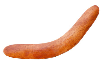 Brown wooden boomerang isolated