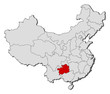 Map of China, Guizhou highlighted