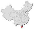 Map of China, Hainan highlighted
