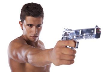 Man aiming a handgun