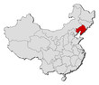 Map of China, Liaoning highlighted