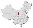 Map of China, Ningxia highlighted