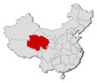 Map of China, Qinghai highlighted