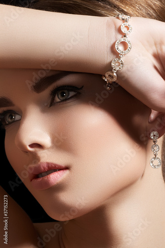 Accessories, jewelry gold bracelet, earrings with diamonds