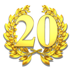 20 twenty number laurel wreath