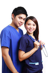 Nurses in blue uniform