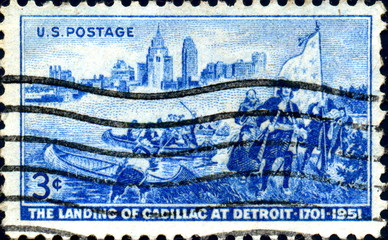 The Landing of Cadillac at Detroit. 1701. US Stamp.