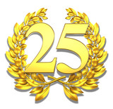 25 twentyfive number laurel wreath