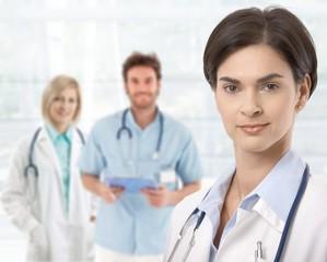 Doctors standing in lobby