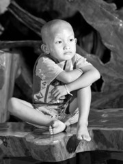 sadness of Asian boy- portrait
