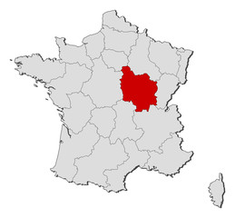 Map of France, Burgundy highlighted