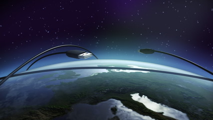 USB flying above earth