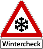 Wintercheck Schild Zeichen Frost Winter Check Symbol