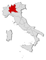 Map of Italy, Lombardy highlighted