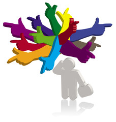 Man and color hands pointing in different directions