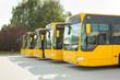 Leinwandbild Motiv Busse in einer Reihe auf dem Bushof