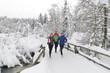 Drei Jogger im Schnee
