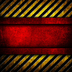 red metal with warning stripe